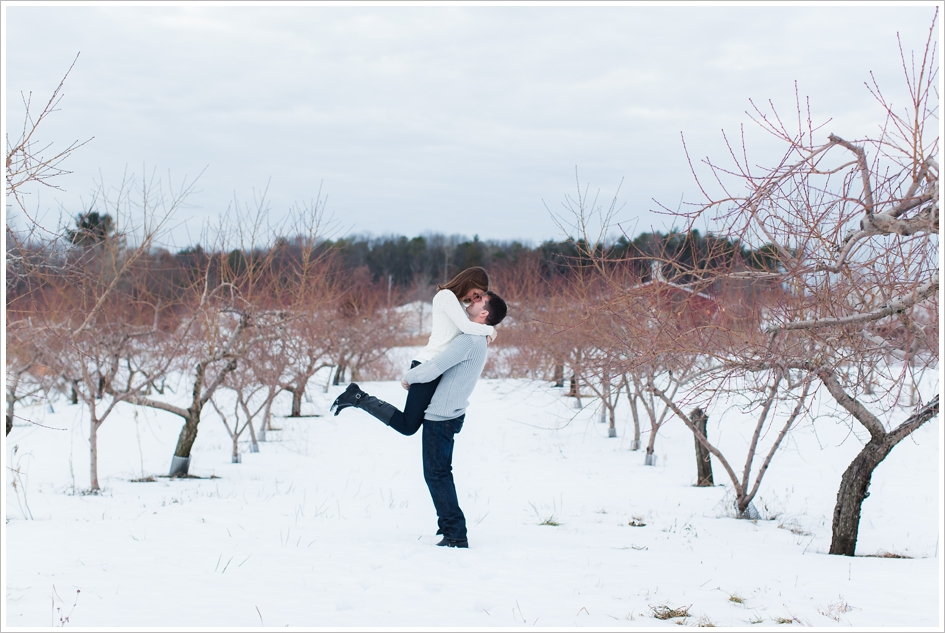 Apple orchard winter wedding photos